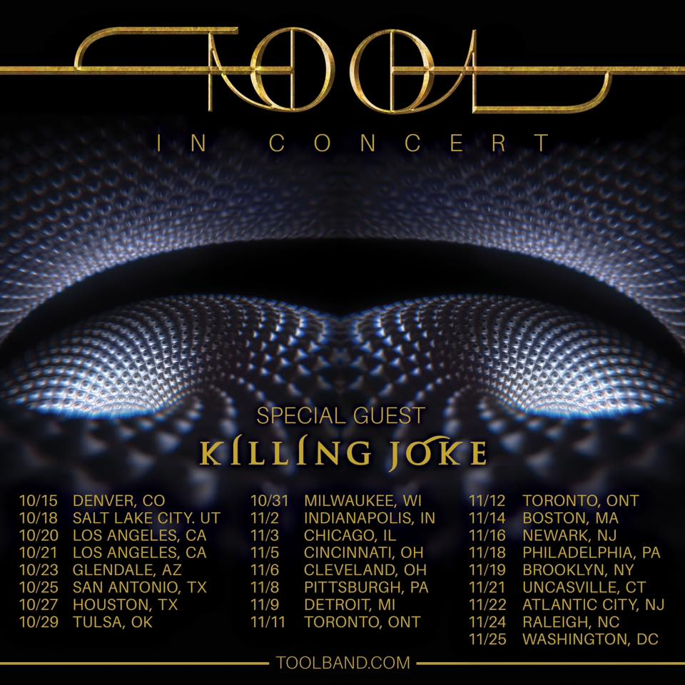 Gatherers of the USA, we will be back this October! Join us on tour with Tool from October 15th.  www.killingjoke.co.uk/tour